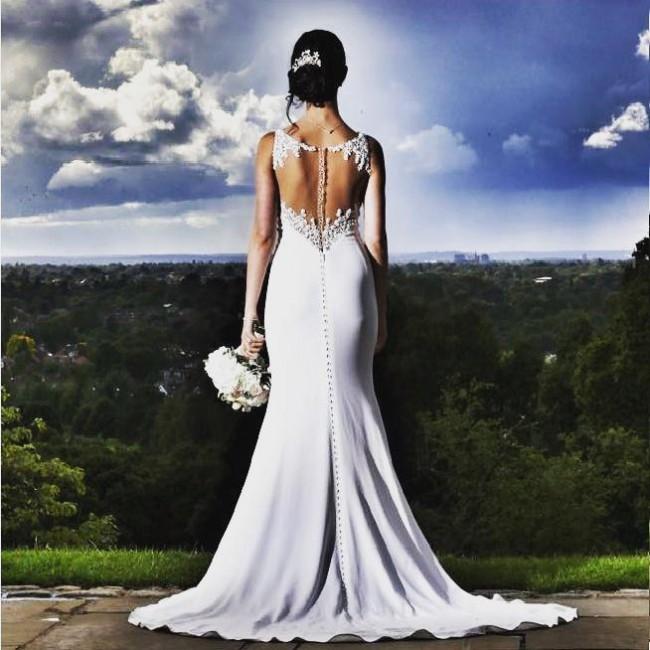 Martina Liana Sheath Wedding Dress with Illusion Back Style 734