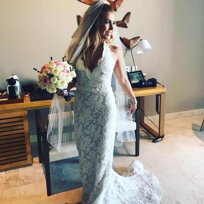 Reem Acra, Lace Halter Dress