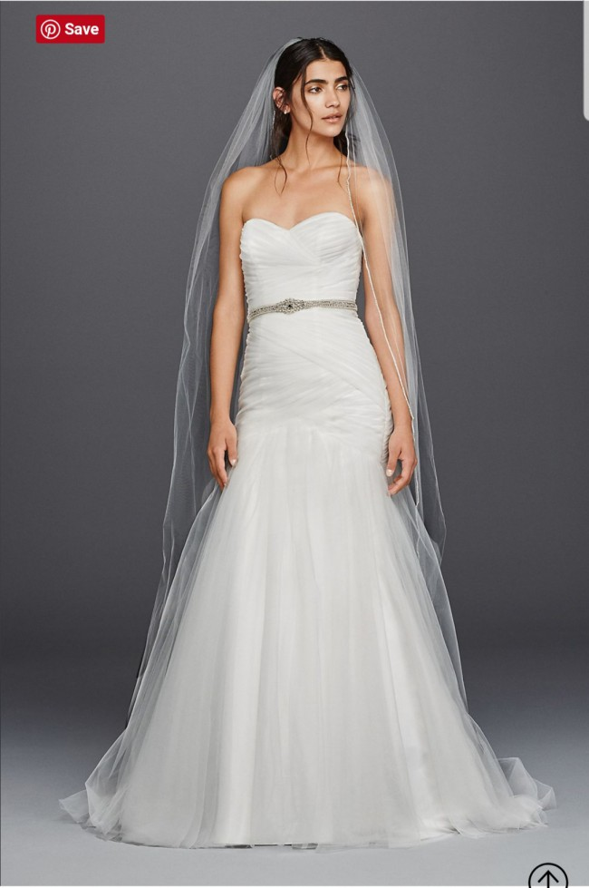 David's Bridal Collection Strapless Ruched Mermaid Tulle Wedding Dress