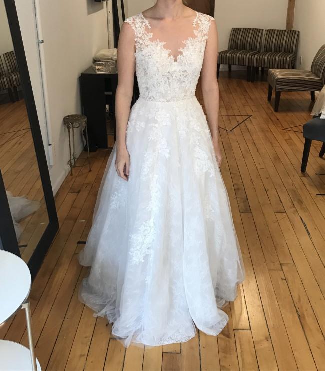 Essense of Australia D2347 Classic Lace A Line Wedding Dress