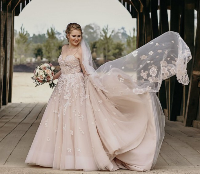 Hayley Paige STYLE 6814 ARDEN with Matching Cathedral Veil