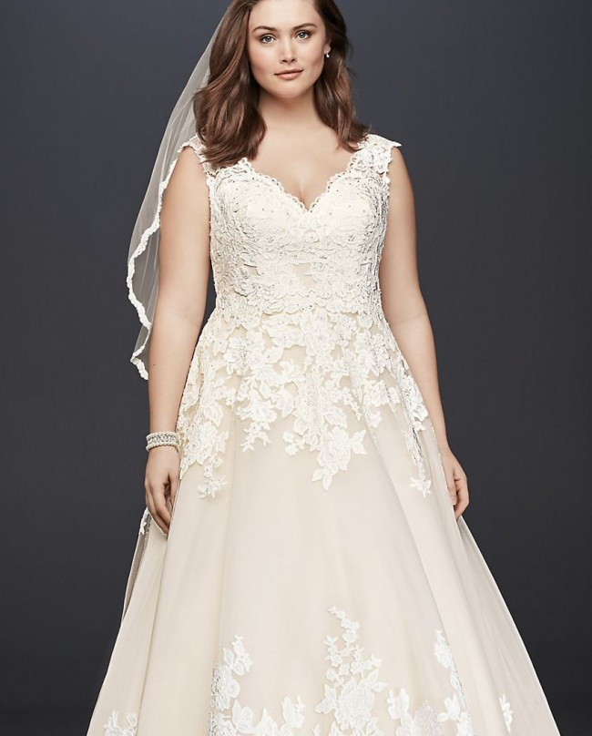 David's Bridal Collection Scalloped Lace and Tulle Plus Size Wedding Dress 9