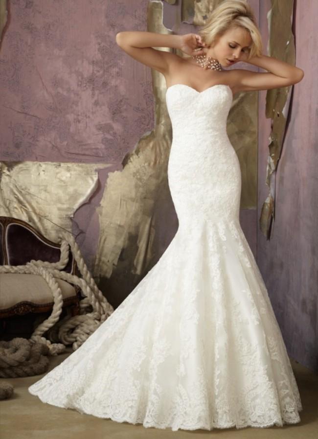 Morilee, 1862. Morilee Bridal Alencon Lace Wedding Dress Wi