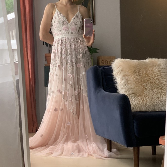 Needle & Thread Trailing Tiered Gown