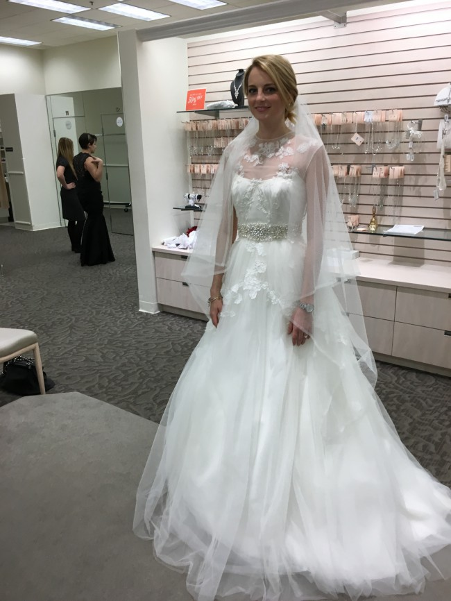 Vera Wang, White by Vera Wang Illusion Neckline Wedding Dress