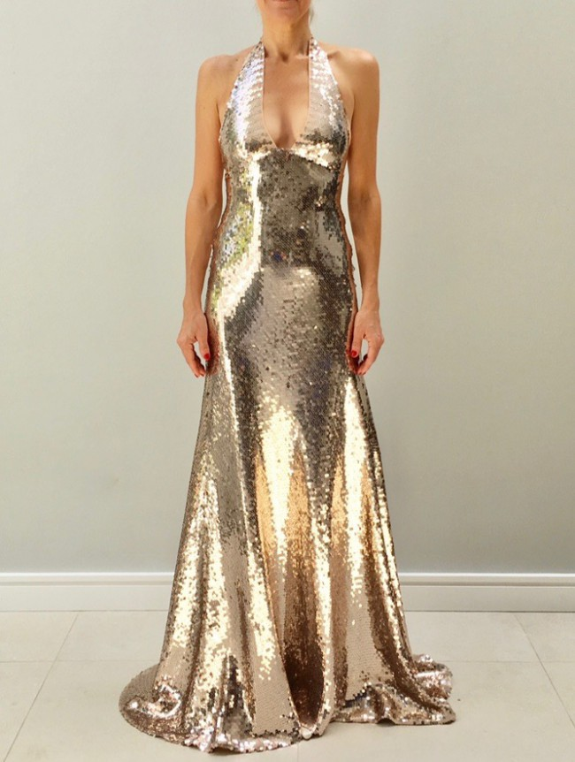 Sharon Cunningham Rose gold sequin gown