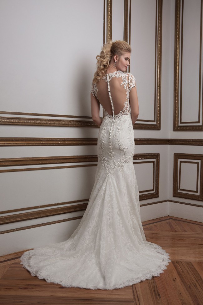 Justin Alexander 8796 Plunging Jewel Neck Venice Lace Bridal Gown