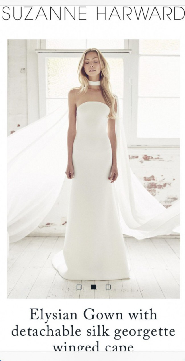 Suzanne Harward Elysian gown with silk gorgette winged cape
