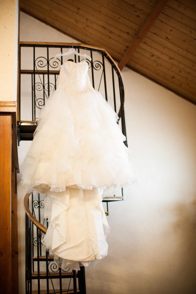 Oleg Cassini, Oleg Cassini Organza Ruffle Skirt Wedding Dress -