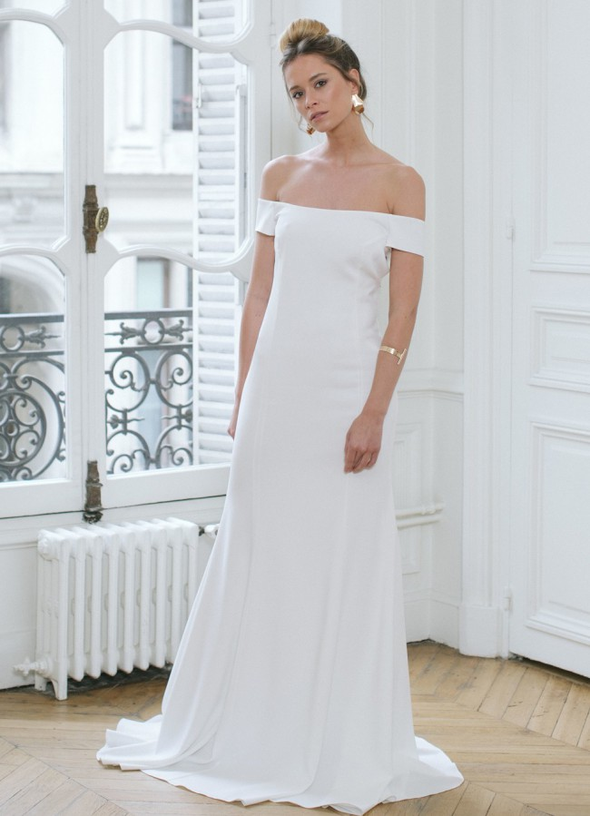 Rime Arodaky, LOUVRE OFF-THE-SHOULDER CREPE GOWN