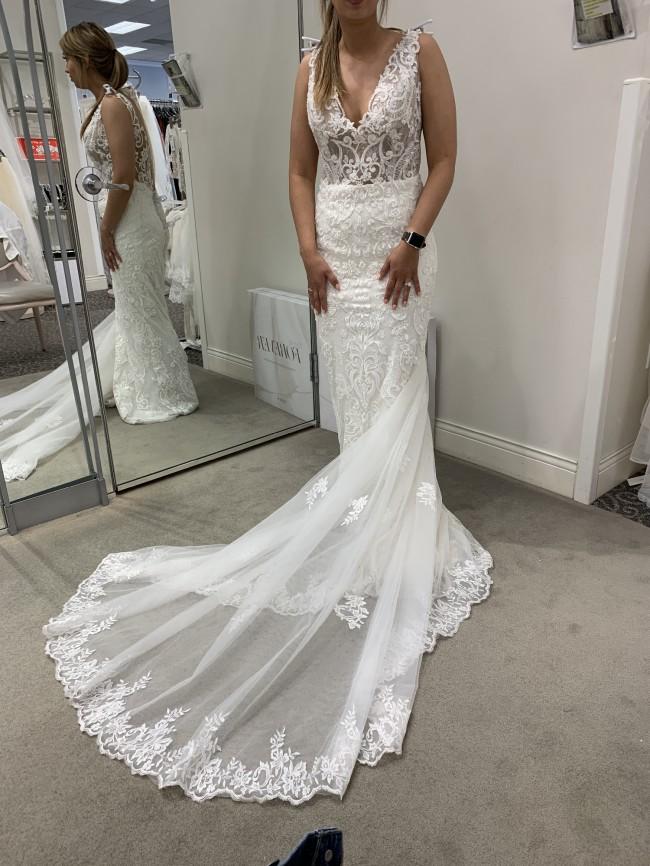 Galina Signature Plunging Illusion Bodice Lace Wedding Dress