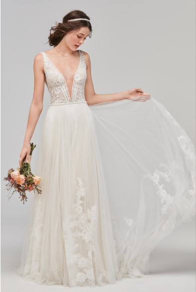 Watters Philomena Deep V-Neck Tulle Gown