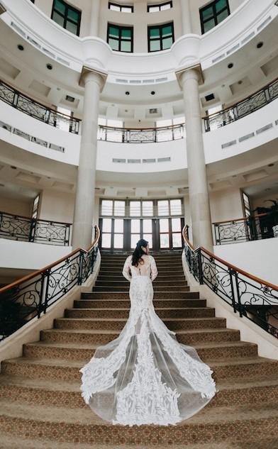 JessicaCindy, embelished lace sheath bridal couture