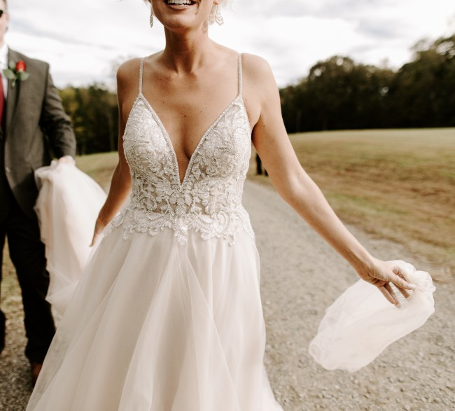 Galina Signature Sheer Beaded Bodice Organza A-Line Wedding Dress S