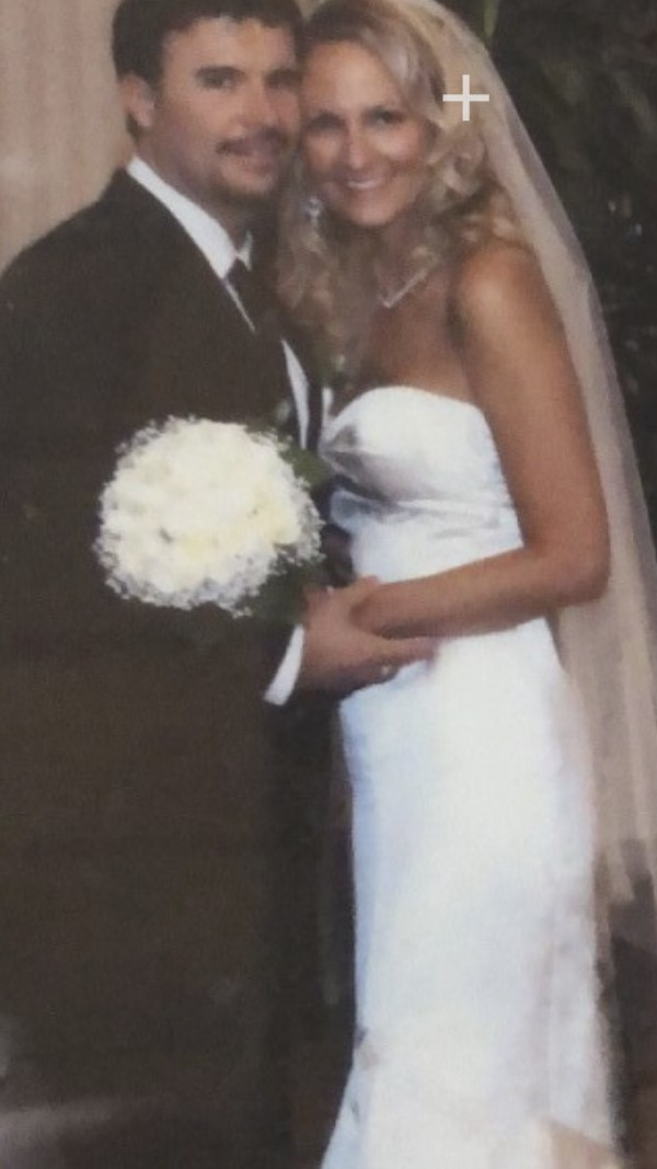 Elizabeth Fillmore,  trumpet style strapless satin wedding gown