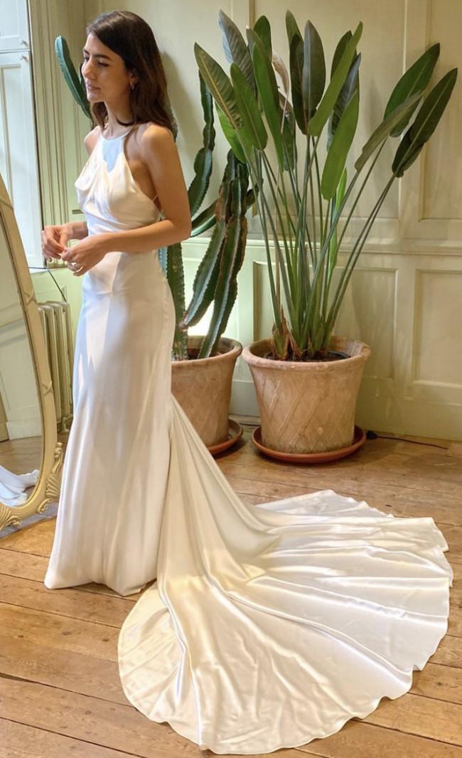 Hermione De Paula Silk Satin Backless Slip Dress