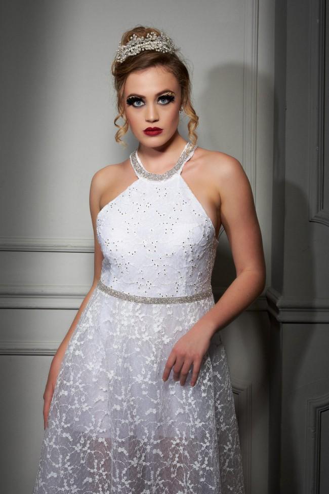 Maison Estrella A-line Italian lace wedding dress Unusual back