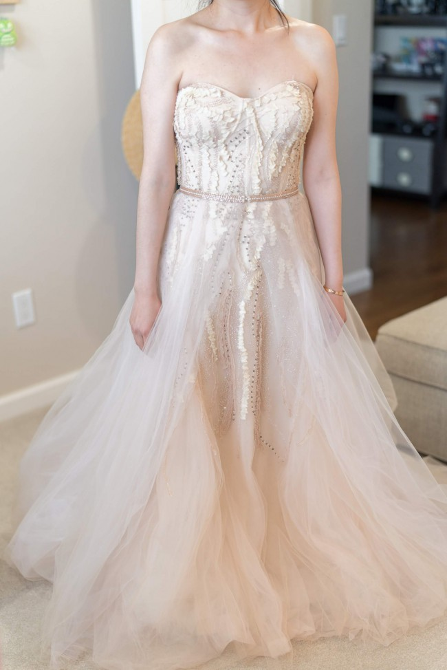 Monique Lhuillier Candy with custom removable Overskirt