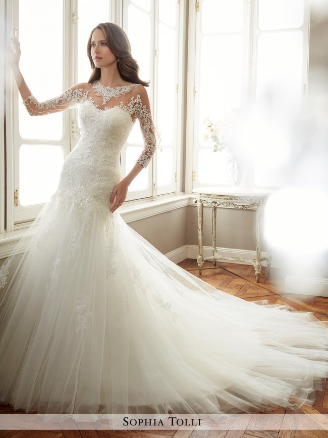 b12df3f5a0a Sophia Tolli Felicity Y11720 Sample Wedding Dress on Sale 33% Off ...