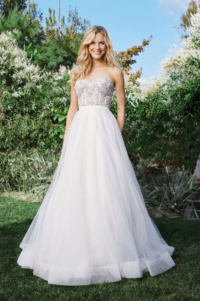 Lillian West Tulle Skirt with Beaded Sweetheart Bodice 6442