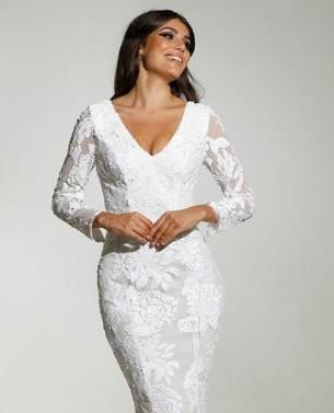 Tinaholy, Long Sleeve Sequin Mermaid Wedding Dress