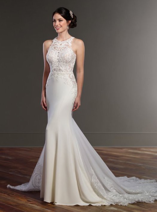 Martina Liana, Never Worn - Illusion Racerback Wedding Dress
