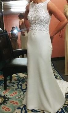 Tara Keely Ivory crepe sheath bridal gown, Venise lace bodice