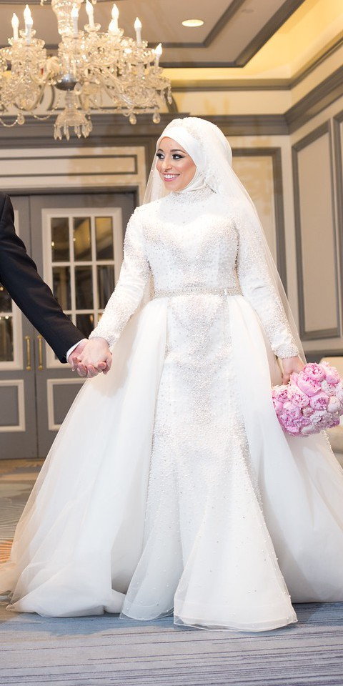 Stephen Yearick Illusion Pearl Dress with Custom matching veil and