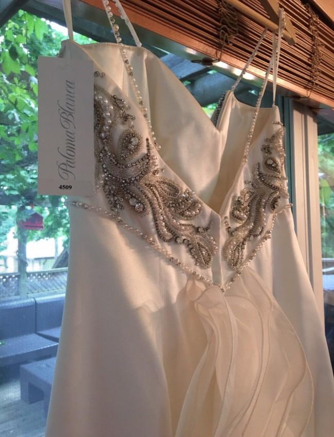 Paloma Blanca 4509 Silk Duchesse Organza Gown
