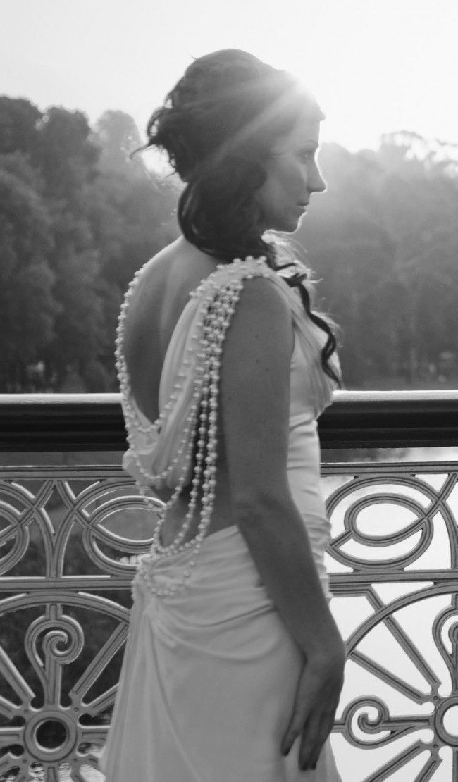Dimitria Bridal Giselle ivory low back with draping pearls